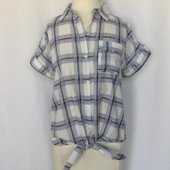 9261e2a3db4 Love Notes Tops | Nwt Plaid Tie Front Shirt S Short Sleeve Blue ...